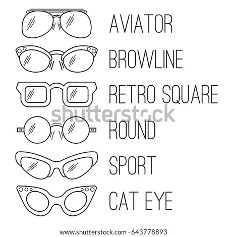 1ed5b340ff6 Types of sunglasses for fashion illustration. Vector illustration isolated  on white background. Collection of different types of sunglasses in line  art ...