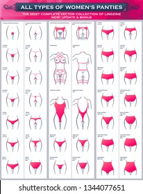 Types of womens panties. The most complete vector collection of lingerie. Sexy set of underwear, string thong, tanga bikini, brazilian cheeky, hipster boyshorts, high waist leg, shapewear brief