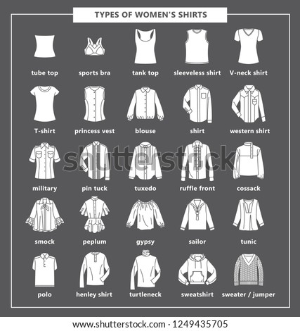 d27c29d42528 Types of women s shirts with names. Vector black icon illustration. Set of  women s T