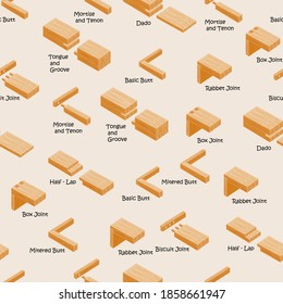 Types of wood joints and joinery. Industrial vector seamless pattern