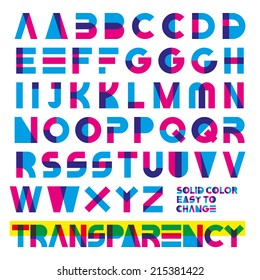 typeset in primary colors transparency. solid colors easy to change.