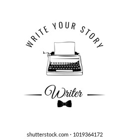 Typewriter badge. Writer logo. Tie bow. Write your story. Vector illustration isolated on white background