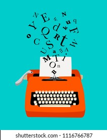 Typewriter colored icon with paper and flying letters, vector illustration