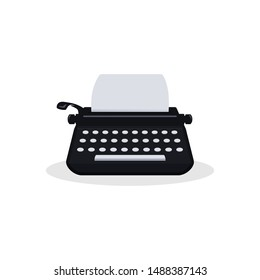 Typewriter colored icon with paper, vector illustration