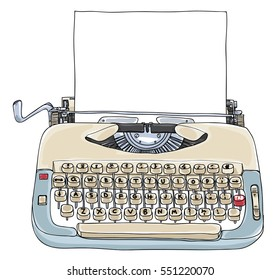 Typewriter Creme and Blue with blank paper vintage vector  art cute illustration