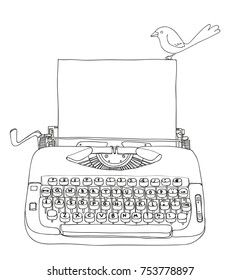 Typewriter Creme and Blue with blank paper and little bird vintage vector line art cute illustration
