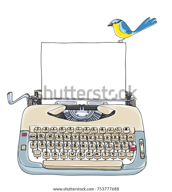 Typewriter Creme and Blue with blank paper and little bird vintage vector  art cute illustration