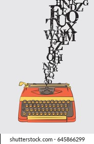 Typewriter with grungy letters vector illustration.