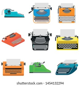Typewriter icons set. Flat set of typewriter vector icons for web design