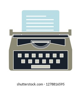 typewriter machine icon -vintage  icon illustration. typewriter sign symbol - secretary writing symbol- keyboard illustration - secretary equipment sign - antique equipment sign