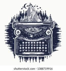 Typewriter and mountains tattoo and t-shirt design. Symbol of imagination, literature, philosophy, psychology, imagination