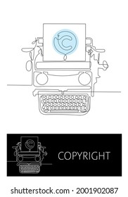 Typewriter in one continuous line. Minimalistic art will perfectly fit for web sites of copywriter or authors