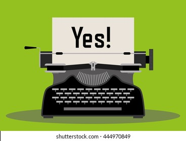 Typewriter with a paper written the word Yes on