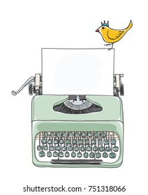 typewriter portable retro with paper and  yellow bird  hand drawn vector art illustration