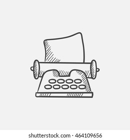 Typewriter sketch icon for web, mobile and infographics. Hand drawn vector isolated icon.