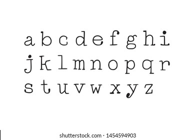 Typewriter style font. Hand-drawn doodly slim lowercase letters set