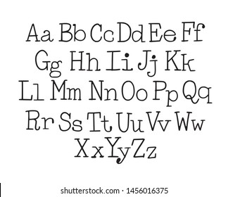 Typewriter style font. Hand-drawn doodly slim lowercase and uppercase letters set.