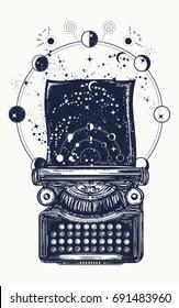 Typewriter tattoo. Symbol of imagination, literature, philosophy, psychology, imagination. Antique typewriter with paper prints Universe, surreal t-shirt design
