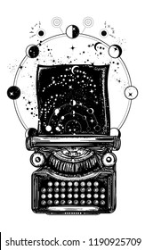 Typewriter tattoo and t-shirt design. Symbol of imagination, literature, philosophy, psychology, imagination. Antique typewriter with paper prints Universe, surreal art