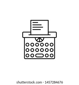 Typewriter vector icon. Illustration isolated vector sign symbol
