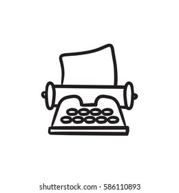 Typewriter vector sketch icon isolated on background. Hand drawn Typewriter icon. Typewriter sketch icon for infographic, website or app.