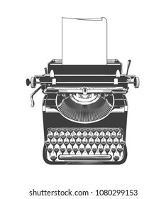 Typewriter. Vintage type writer machine with paper old style vector sketch drawing