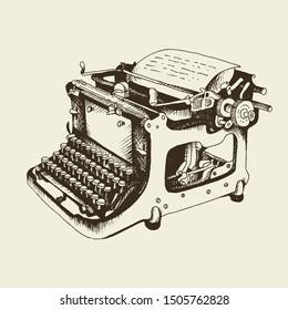 Typewriter vintage vector illustration, hand drawn sketch in engraving style isolated on beige background