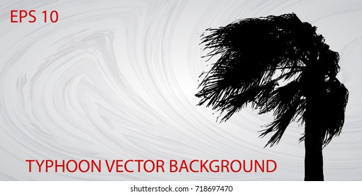 Typhoon vector background with contour trees in the wind