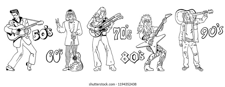 Typical 20th century guitarists. Music styles history: 50s rock'n'roll, 60s hippie, 70s progressive rock, 80s glam metal, 90s grunge. Hand drawn sketchy illustration. Line art isolated black on white.