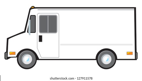 A typical American van or truck used for deliveries and as police vehicles. The van is plain white and blank on the side but can be altered with vector software for any color scheme.