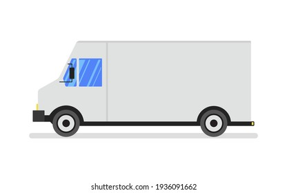 A typical American van or truck used for deliveries. Flat vector illustration.