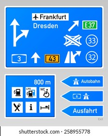 Typical autobahn signs in Germany