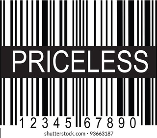 """A typical black and white upc code, with a broad band of black displaying the word, """"PRICELESS""""."""