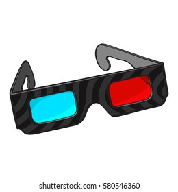 Typical blue and red stereoscopic, 3d glasses in black plastic frame, sketch style vector illustration isolated on white background. Hand drawn 3d stereoscopic glasses, cinema object