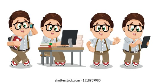 Typical day of clever and studious student in glasses, shirt and trousers. Brown haired plump boy going, keeping books, speaking by smartphone, using tablet, sitting at computer desk, waving hand