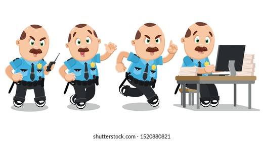 Typical day highlights of plump mustached police officer in blue uniform. Brown haired policeman, cop talking on walkie-talkie, running, waving hand, doing paperwork at computer desk. Vector set.