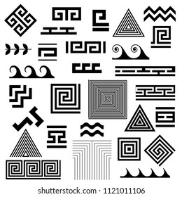 Typical egyptian, assyrian and greek motives vector symbols set. Greek key. Arabic geometric islamic art. Abstract geometric. Vector and illustration.