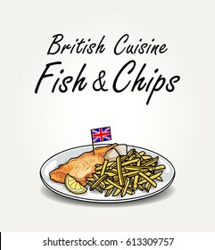 Typical English Meal Fish and Chips on Plate