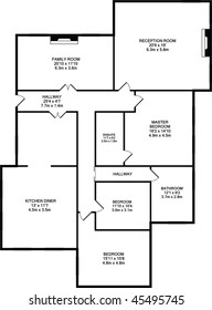 Typical floorplan of a house in black outline