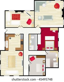 Typical floorplan of a house in colour with furnishings