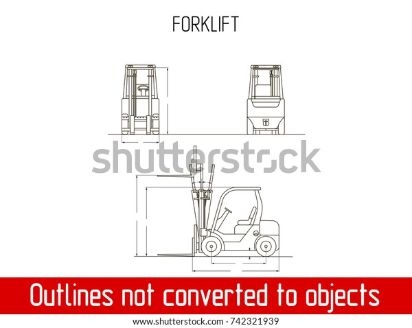 Typical Forklift Overall Dimensions Blueprint Template Stock
