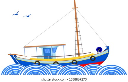 typical greek island boat, blue sea and flying gulls vector. Nautical theme, Greek coaster