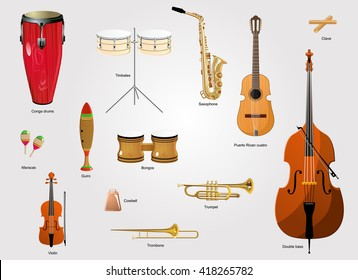 Typical instruments of salsa music. The salsa music instruments. The latin music instruments.
