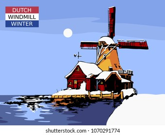 Typical landmark, windmill in Holland during winter time near water. Vector illustration.