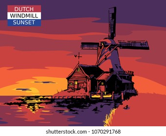 Typical landmark, windmill in Holland at sunset near water. Vector illustration.