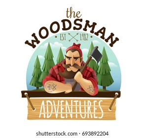 Typical lumberjack woodsman holding ax with strong muscled tattooed hands adventures sign board icon label vector illustration