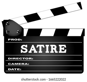 A typical movie clapperboard with the legend Satire isolated on white.