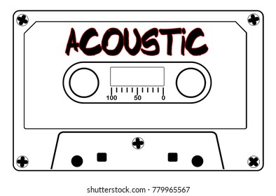 A typical old fashioned audio cassette in black line over a white background with text Acoustic