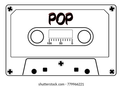 A typical old fashioned audio cassette in black line over a white background with text Pop
