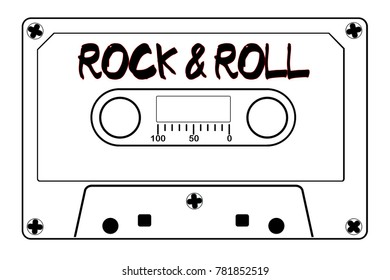 A typical old fashioned audio cassette in black line over a white background with text Rock And Roll